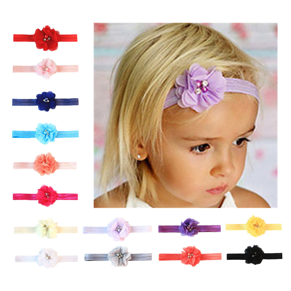 die cut fray flower nylon rope 3/8 inch toddler girl hair headband mixed color 7801