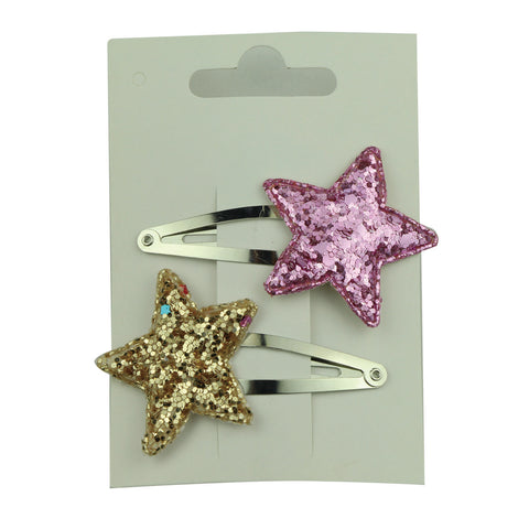 diy boutique suede glitter rose gold leather star hair clips set eco friendly gold plated 5cm snap hair clip 5756