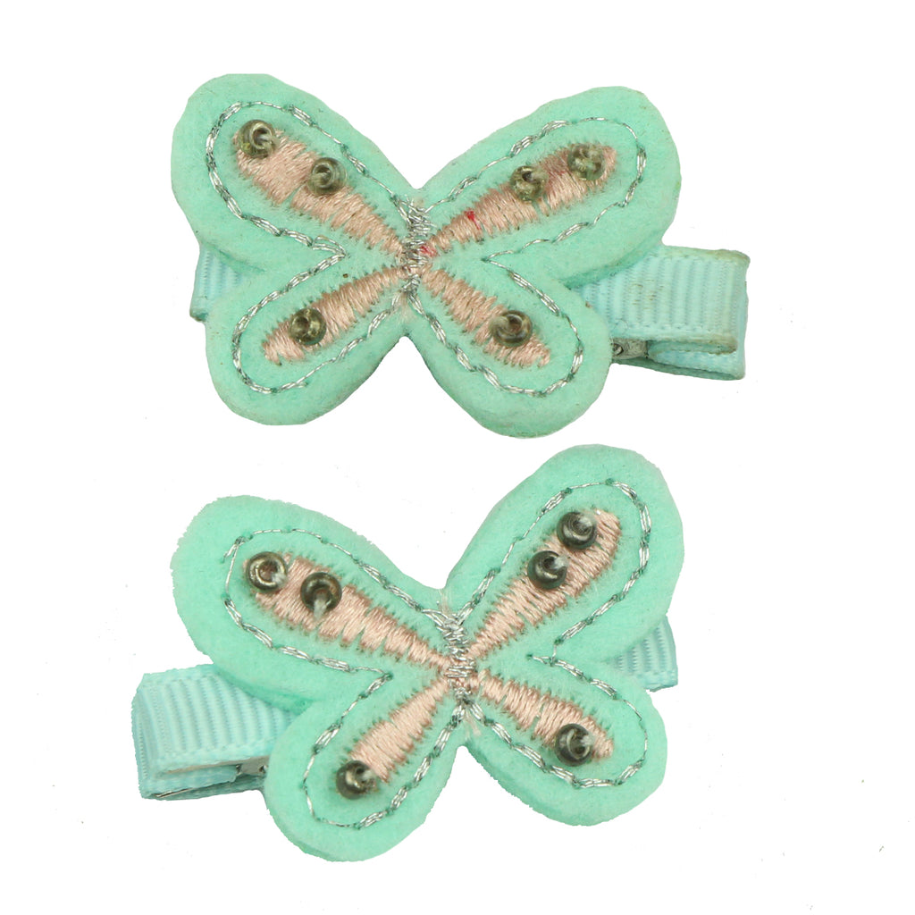 eco friendly felt embroidered butterfly fashion ribbon lined hair clip set 7630