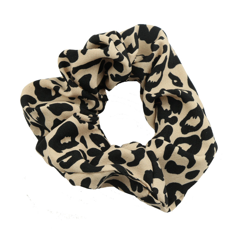 eco friendly private label animal print scrunchies leopard print hair scrunchies 6115