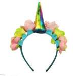 fabric covered artificial rose flower adult headband teenage girls cute hairband with unicon horn kit 5904