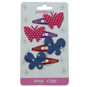 fabric polkadots pink butterfly snap hair grips denim big polka dots hair cclip 5cm snap girl hair accessory 1033 - SOHOBUCKS CO.,LIMITED
