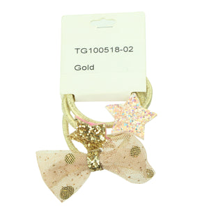 fancy gold decorative cute elastic hairbands for human hair glitter stars pink mesh bow elastic kid hair accessory kit 6572 - SOHOBUCKS CO.,LIMITED