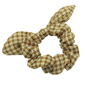 fashion bow hair scrunchies custom dye sublimation bandana gingham ponytail hair holder  5591 - SOHOBUCKS CO.,LIMITED