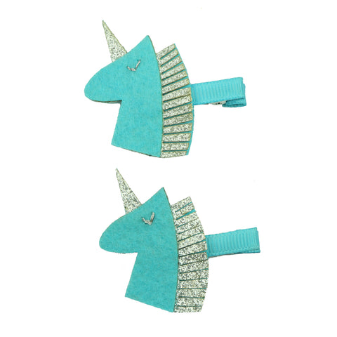 fashion eco friendly felt unicorn horn ribbon covered hair clip 7623