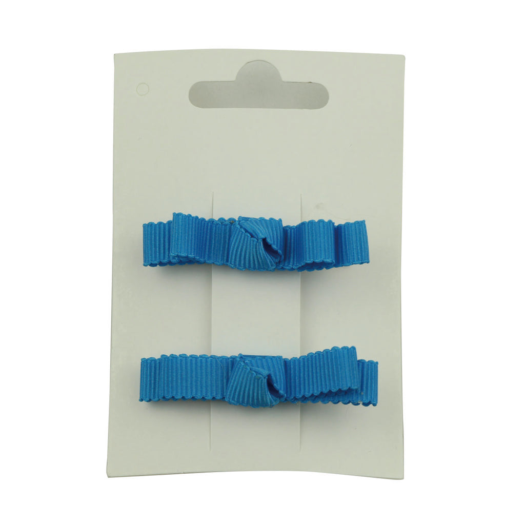 fashion fancy grosgrain ribbon custom bow DIY hair clip teenage girl private label blue ribbon covered hair clip 5644 - SOHOBUCKS CO.,LIMITED