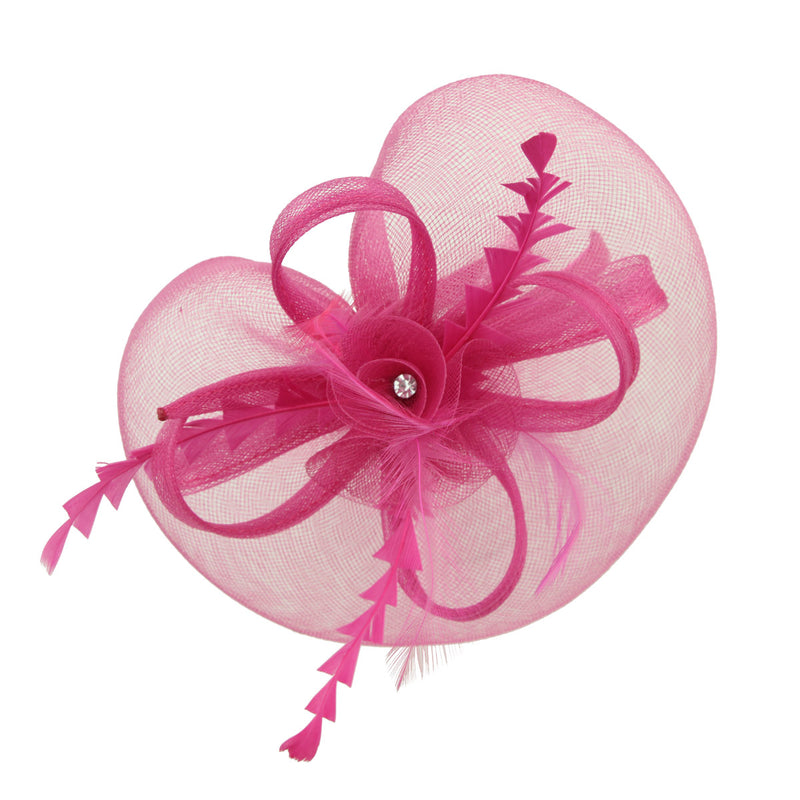 fashion hair accessories party hats hot pink latest design fascinator hats for ladies with animal feather 7215