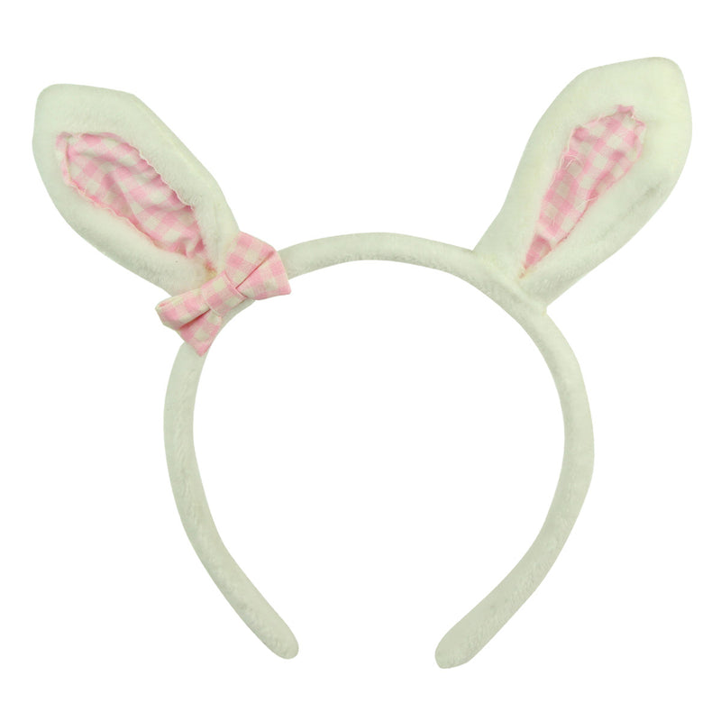fashion latest designed plush bunny ears fluffy hairband headband girl hair hoop with pink gingham bow hair headwear 7161 - SOHOBUCKS CO.,LIMITED
