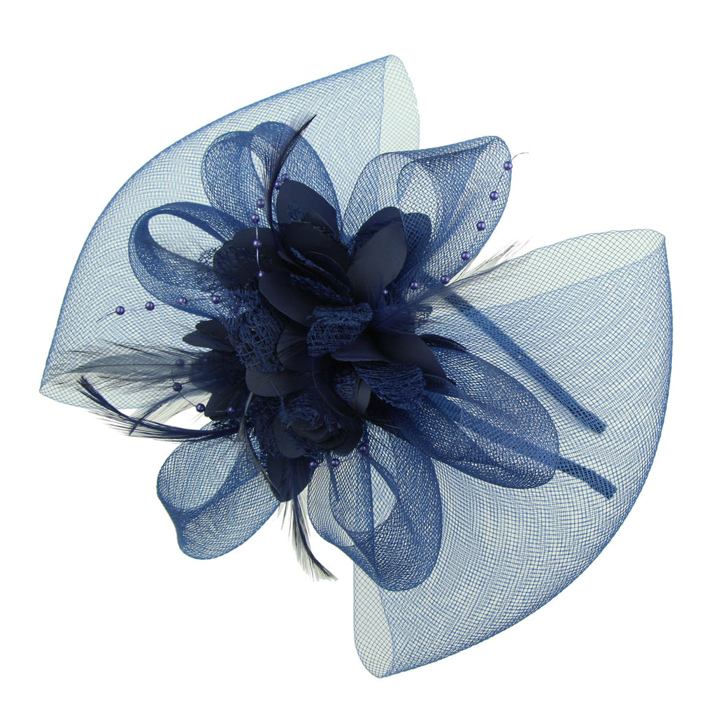 fashion party hair accessory hair fascinator accessories feather flower metal hairband headband for ladies 7226