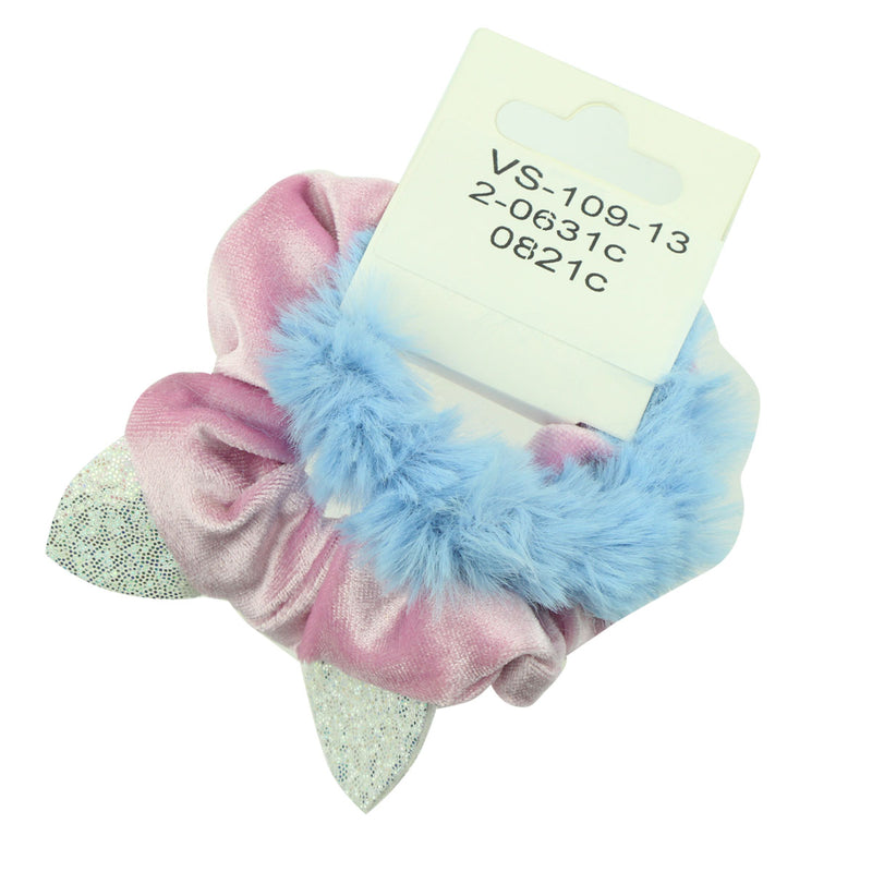 fashion pink velvet hair scrunchies holographic rabbit bunny ears scrunchy hairband green fluffy elastic rope hair decorative band 6606