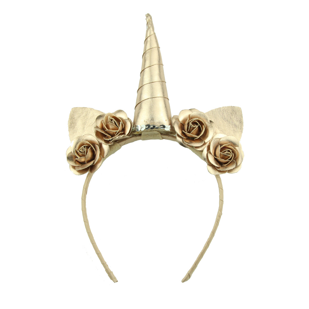 fashion quality suede shiny gold dog ears unicorn horn ribbon covered headband  PU leather rose flowers headwear women 6098 - SOHOBUCKS CO.,LIMITED