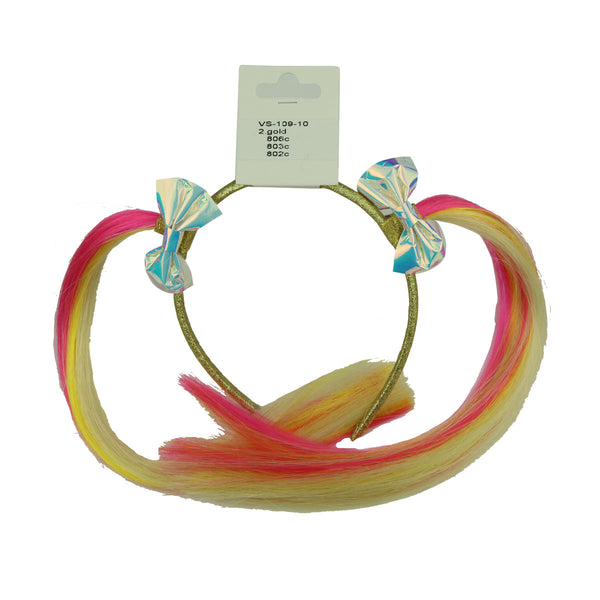 faux leather rose gold girl hairband metallic sliver bow headband rainbow faux hair sting hair accessory extensions 6622 - SOHOBUCKS CO.,LIMITED
