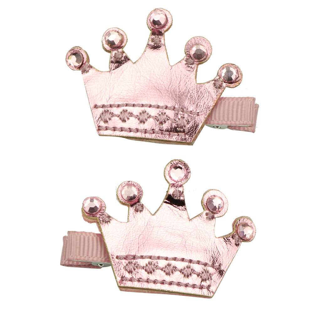 faux leather suede royal crown rhinestone diamond ribbon lined hair clip girl hair accessory set 7650