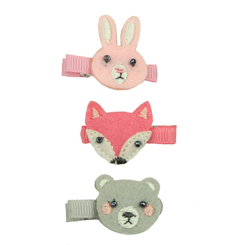 felt embroidered animal head rabbit hair clip non woven embroidered fox hair grip 7638