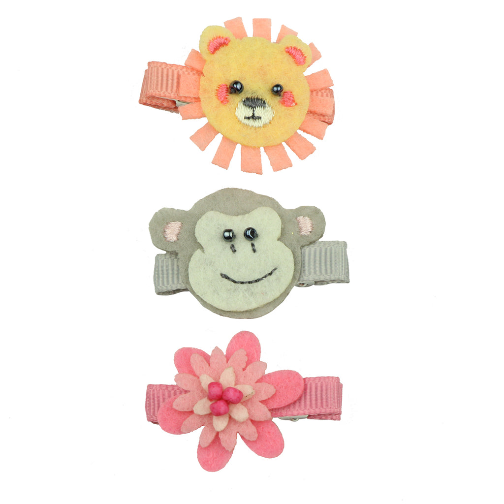 felt embroidered monkey head ribbon lined hair clip nonwoven felt flower hair grip 7642