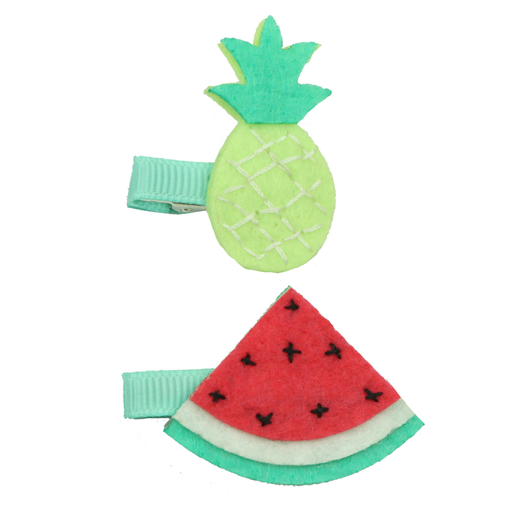 felt pineapple grosgrain ribbon lined hair clip non woven watermelon ribbon wrapped hair grip7651