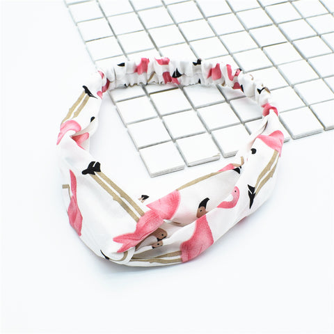 flamingo hair bands for natural hair, scarf headbands for short hair, custom print twist knot headband80088