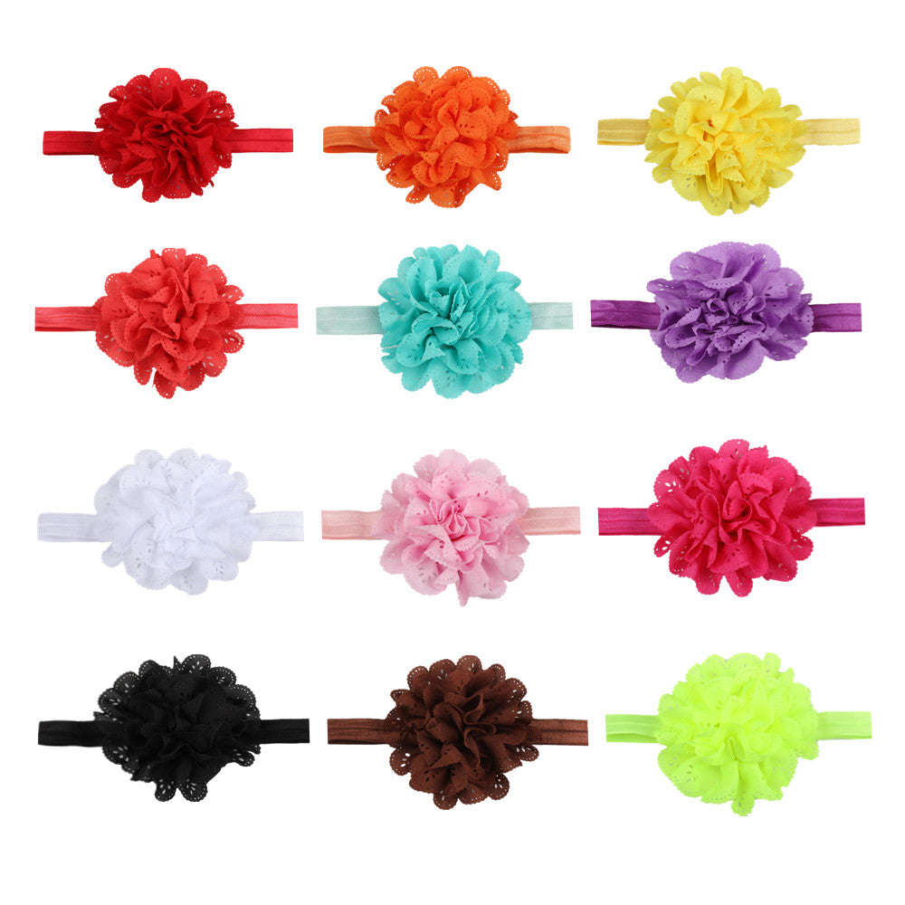 fray chiffon flower creaseless tie dye hair tie elastic headband baby girl hair accessories