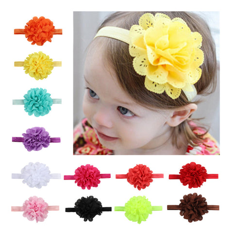 fray chiffon flower creaseless tie dye hair tie elastic headband baby girl hair accessories - SOHOBUCKS CO.,LIMITED