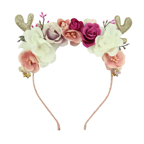 glitter environmental suede PU leather deer ears fancy rose flowers Alice teenage girls hairband women headband wholesale