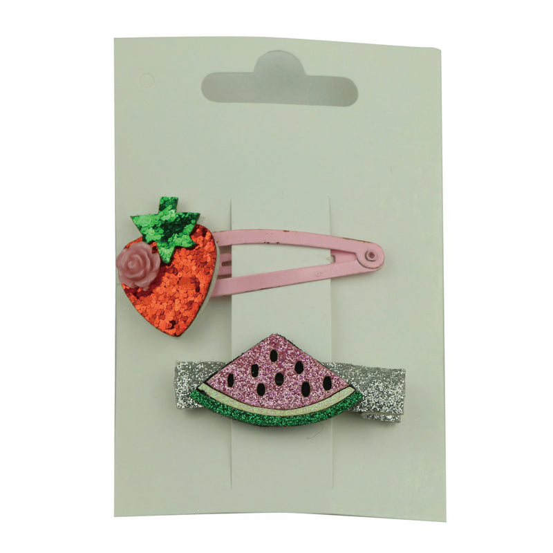 glitter faux suede leather laser cut fruit 5cm snap toddler girl hair clip watermelon leather covered alligator hair clip 5754