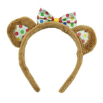 glitter polka dots fluffy donkey ears hairband plush headband polka dots hair bow knitted winter headband 6097