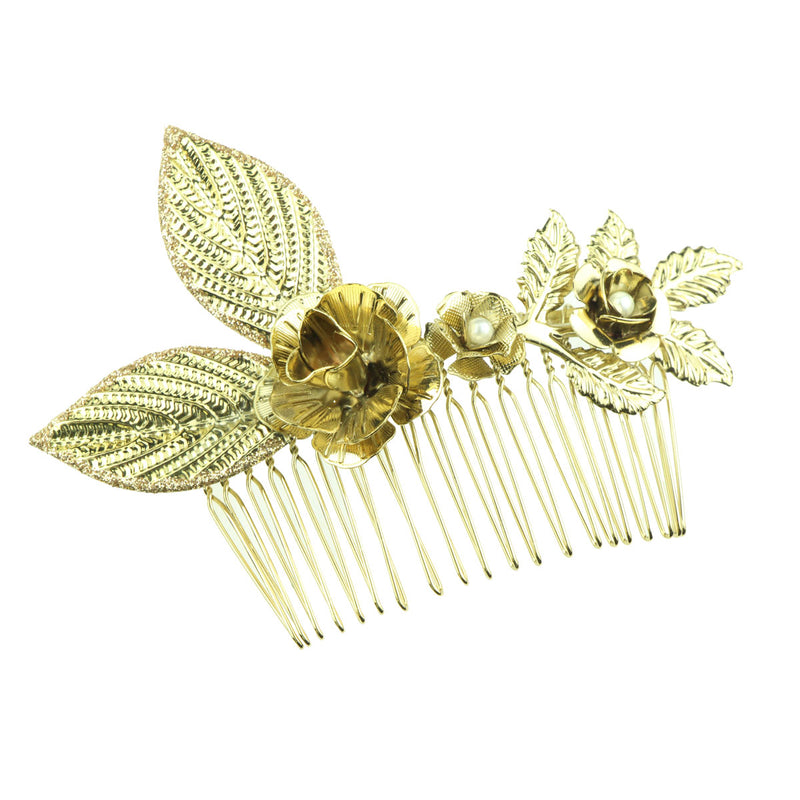 gold metal leaves metallic flower pear hair pieces metal women hair comb hair accessory kit 6917 - SOHOBUCKS CO.,LIMITED