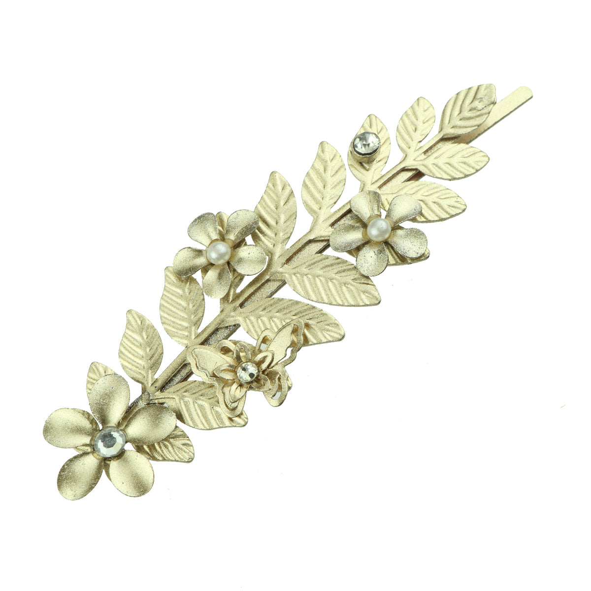 gold metal leaves metallic flower rhinestone crystal diamond centerpiece floral hair clip for women 6846 - SOHOBUCKS CO.,LIMITED