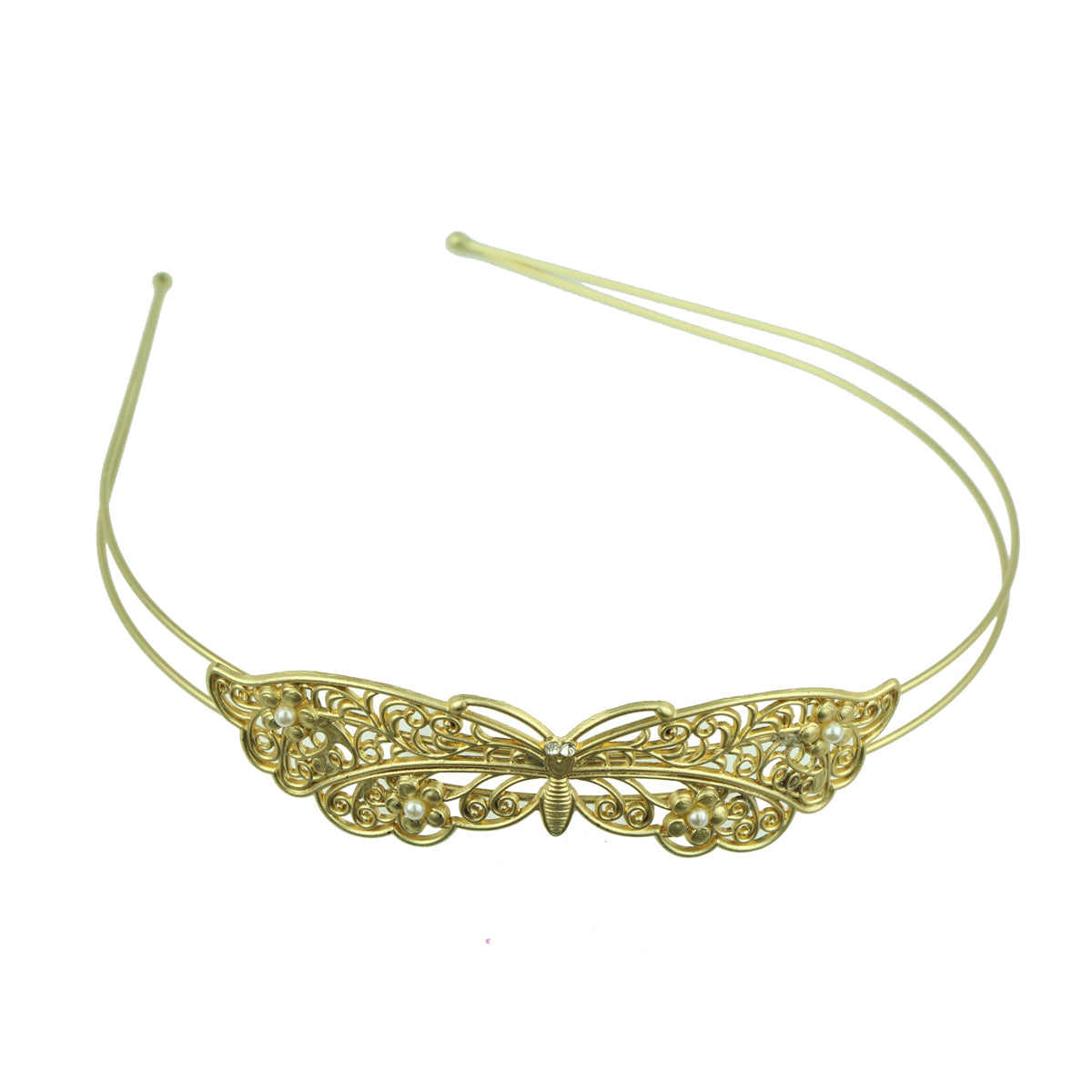 gold metal vintage hair accessory metallic butterfly with pears fashion fancy quality hairband headband made in Dongguan6881 - SOHOBUCKS CO.,LIMITED