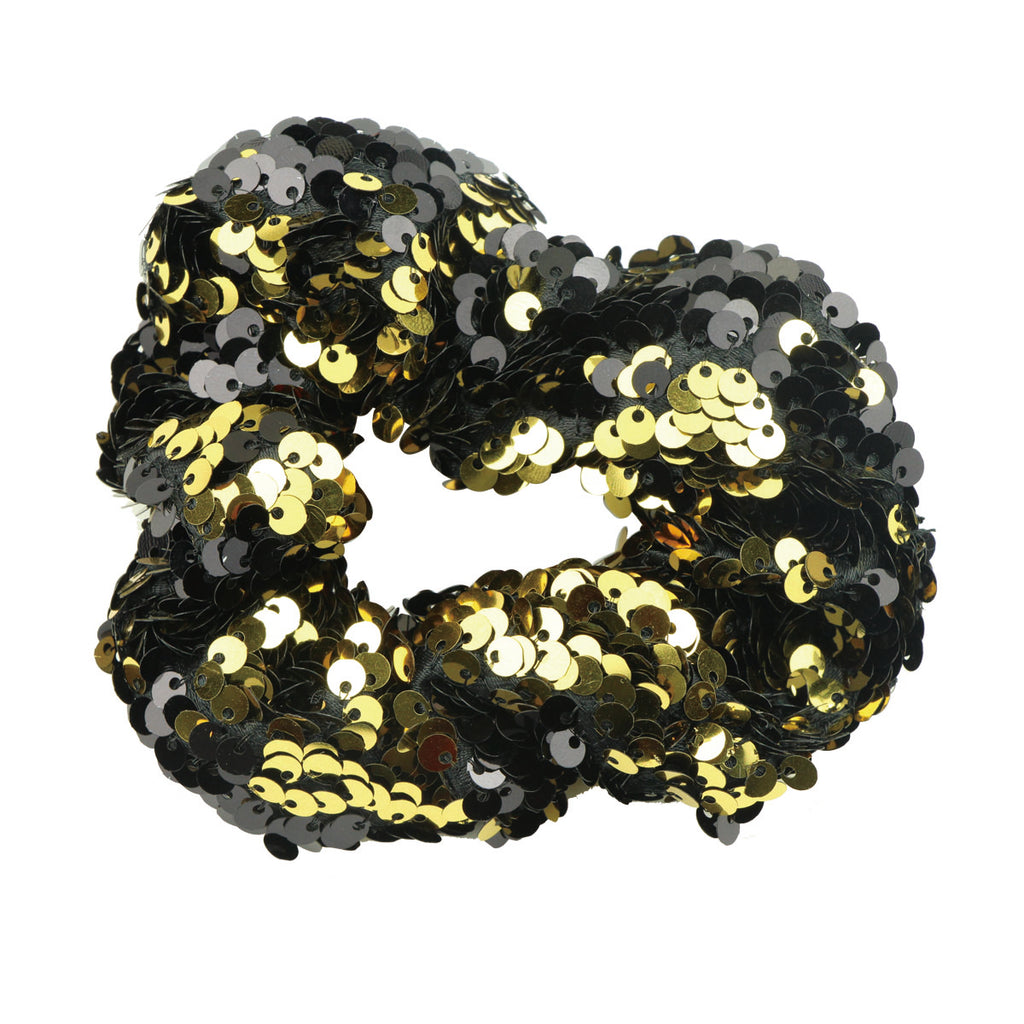 gold revisable sequin ponytail hair holder sequin scrunchies elastic hairband5523
