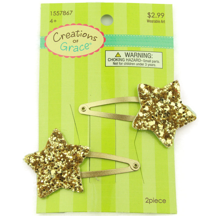 gold shiny star coated snap hair clip from assessed factory 2387 - SOHOBUCKS CO.,LIMITED