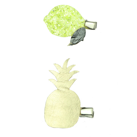 gold suede faux leather pineapple plain alligator hair clip green lemon girl hair clip 7641