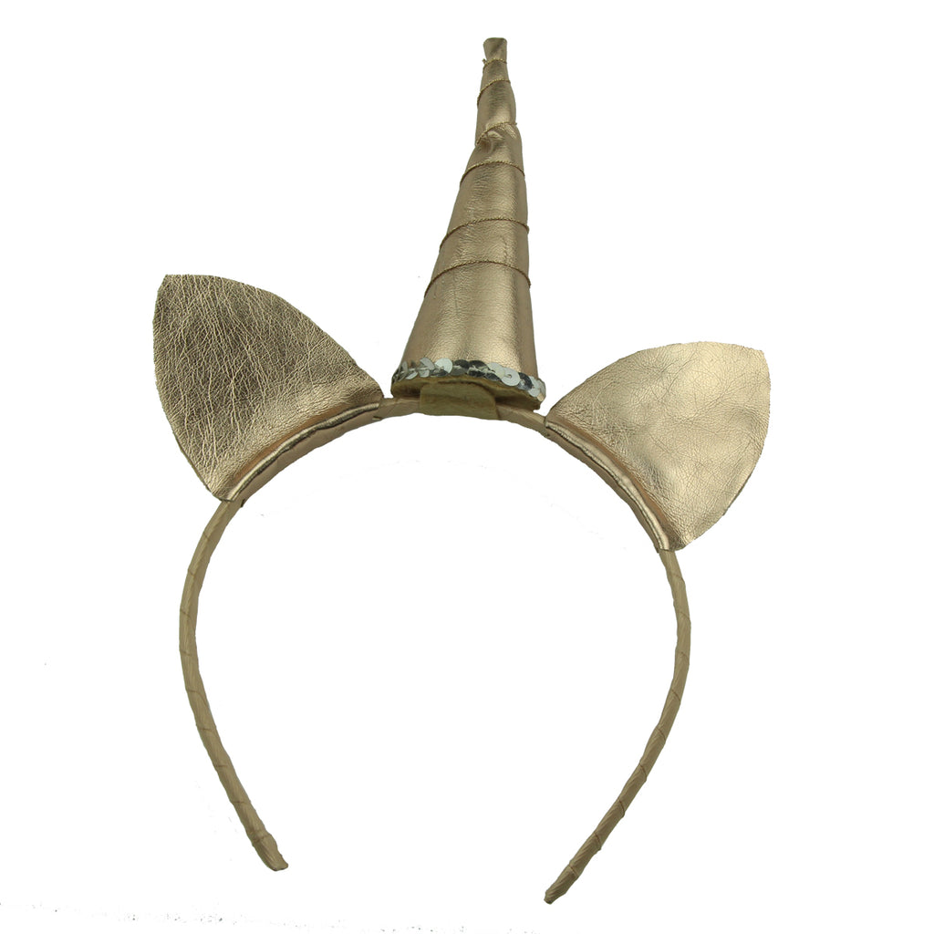 golden leather elf ears unicorn horn grosgrain ribbon covered alice cute teenage girl headband hairband SGS assessed factory5900