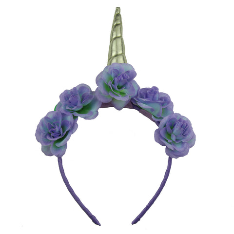 golden leather unicorn horn purple polyester artificial silk rose teeage girls Alice grosgrain ribbon covered hairband headband 5901