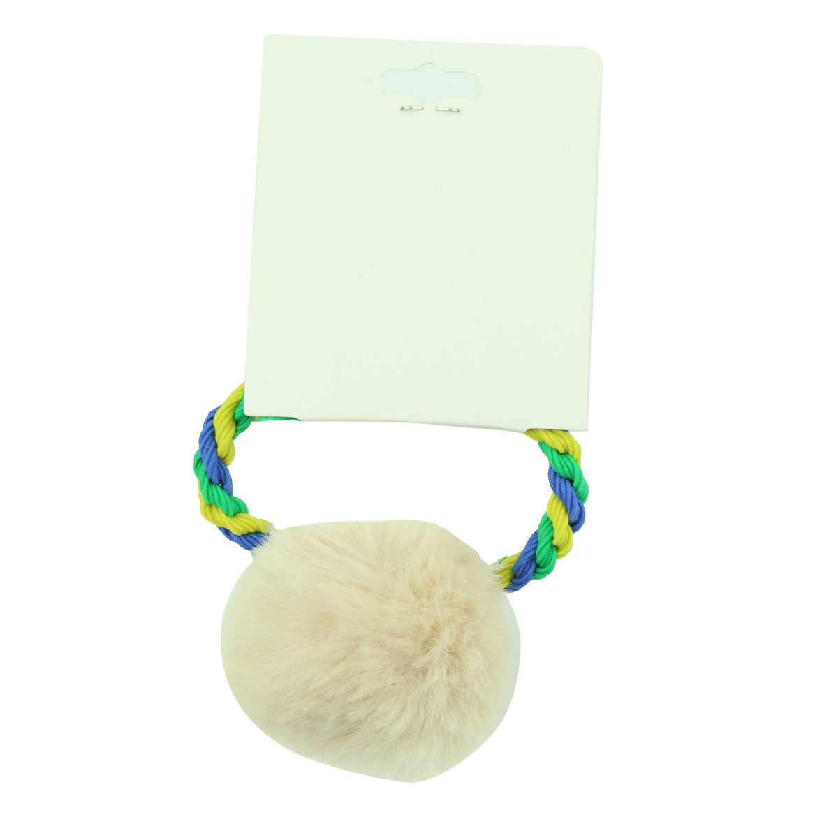 green and blue elastic rope braided ponytail hair holder artificial faux fur pom pom ball hairband6538 - SOHOBUCKS CO.,LIMITED