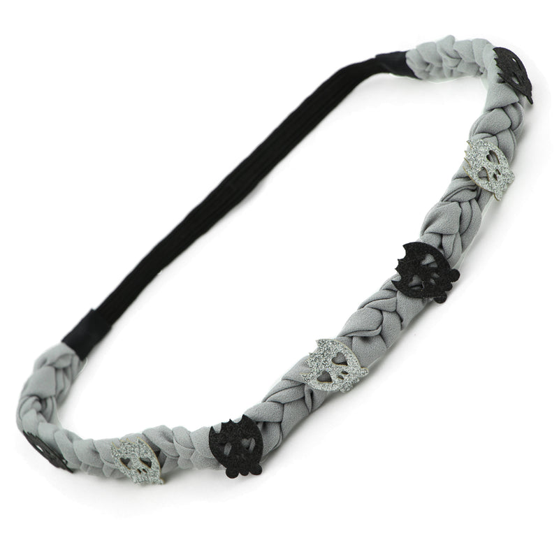 grey Chiffon Braided artificial faux suede leather silver Halloween Skulls skulls elastic  Headband party hair accessories 0888