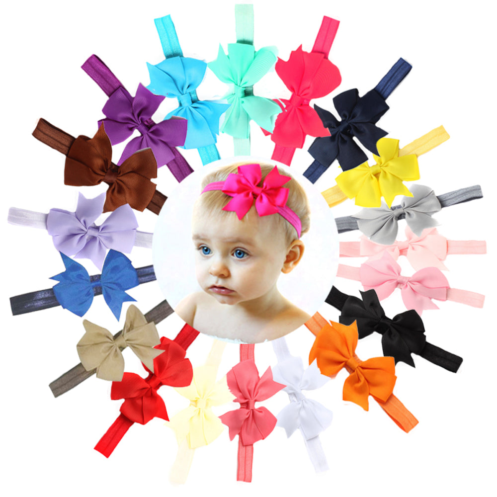 grosgrain ribbon bow hairband no crease elastic headband baby girl toddler hair accessories assorted color - SOHOBUCKS CO.,LIMITED