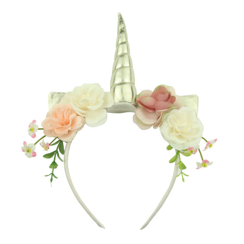 grosgrain ribbon covered plastic teenage girls headband green leaf artificial rose flower hairband with unicorn horn5903