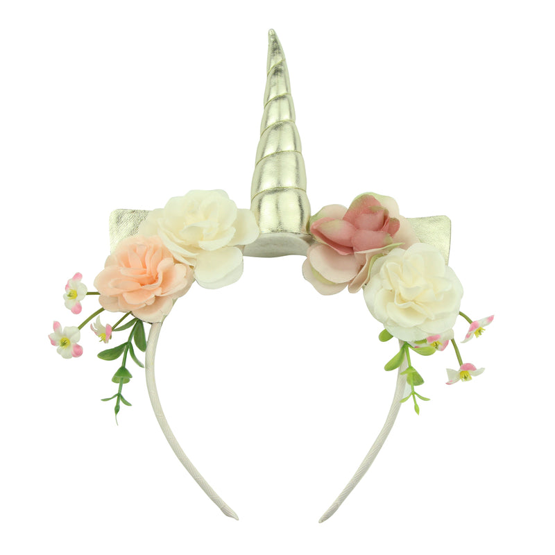 grosgrain ribbon covered plastic teenage girls headband green leaf artificial rose flower hairband with unicorn horn5903 - SOHOBUCKS CO.,LIMITED