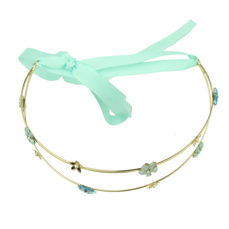 grosgrain ribbon hairband metal flower crown headband fashion women headwear 8225