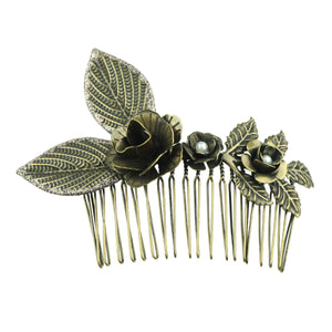 gunmetal  metal leaves metallic flower pear hair pieces metal women hair comb hair accessory kit6916 - SOHOBUCKS CO.,LIMITED