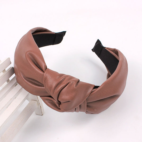 suede knitted hairband,faux leather knot hair headband,hairbands for girls kits90919