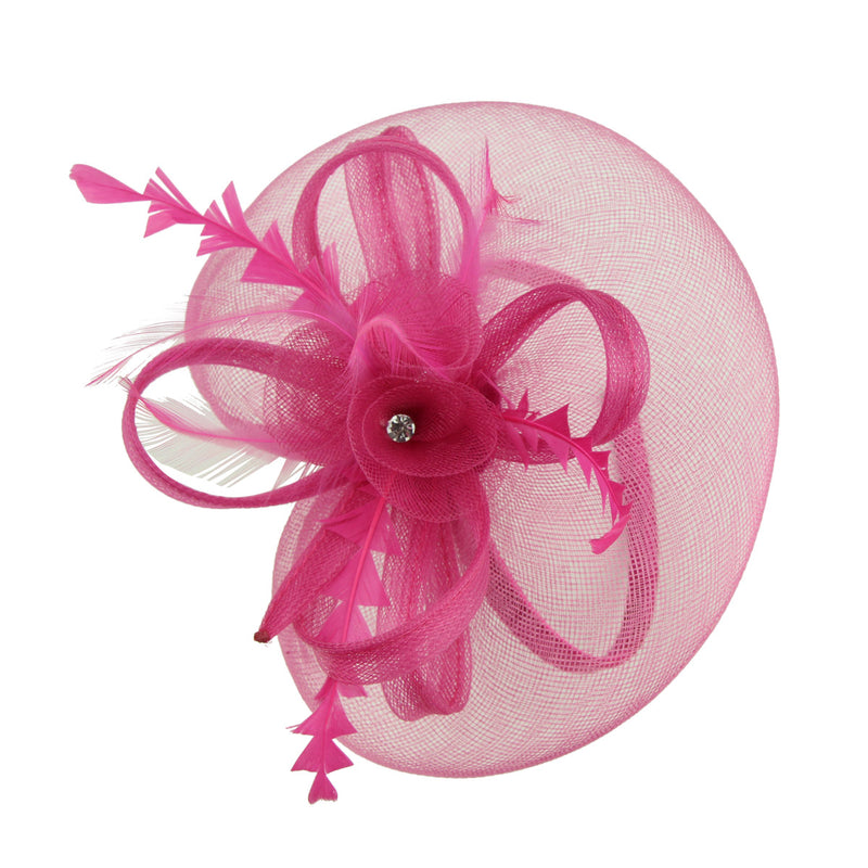 hot pink latest design fascinator hats for ladies with animal feather 7214