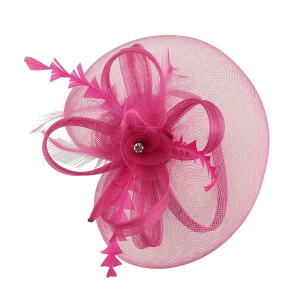 fashion hair accessories party hats hot pink latest design fascinator hats for ladies with animal feather 7215 - SOHOBUCKS CO.,LIMITED
