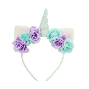 kid unicorn headband holographic unicorn hair band felt cat ears artificial  silk rose flower hairband headbands 6481 - SOHOBUCKS CO.,LIMITED