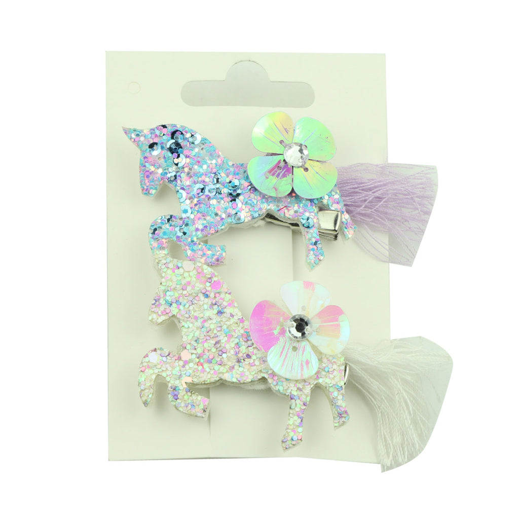 laser cut glitter suede shiny faux leather unicorn horn toddler girls hair clip headwear diamond sequin flower hair clip 5755 - SOHOBUCKS CO.,LIMITED