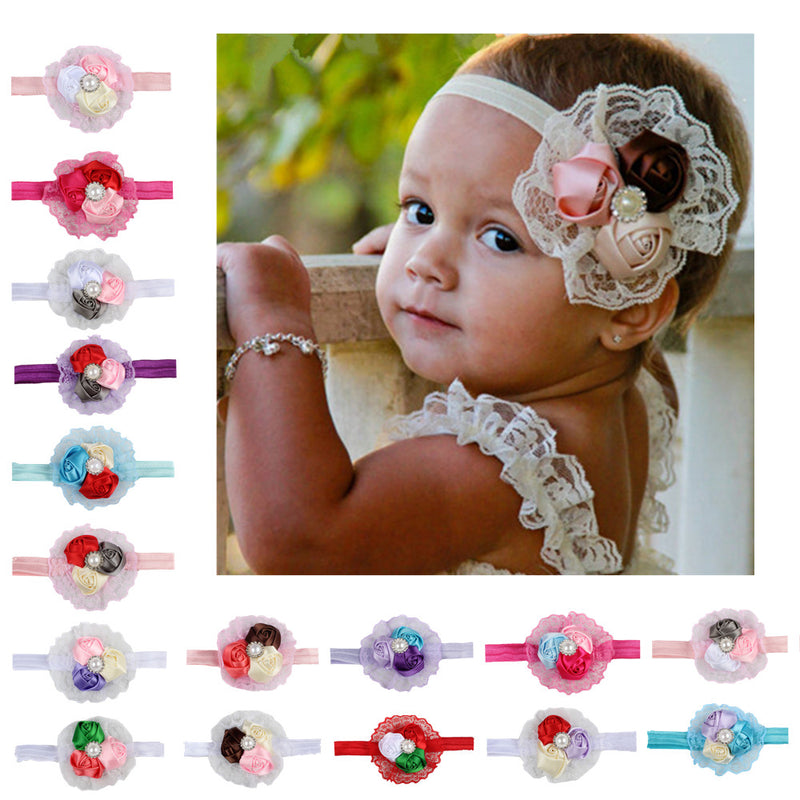 lavender grosgrain rose flower kid elastic headband newborn baby infant flower hair accessories  assorted color