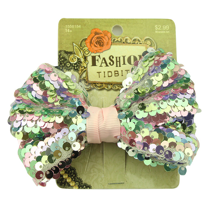 mermaid shiny sequin ribbon bow hair clip women bow tie hair barrette wholesale 2423 - SOHOBUCKS CO.,LIMITED