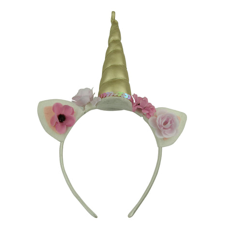 non woven elf ears cat ears gold suede unicorn horn fabric covered girl hairband artificial silk flower headband  6005