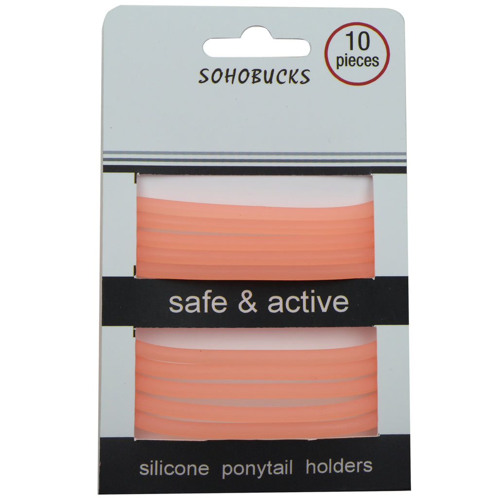 orange clear translucent stretchy silicone snag free hair ties glow in the dark rubber hairbands for hair1069